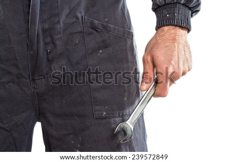 Mechanic holding a wrench against white background - stock photo