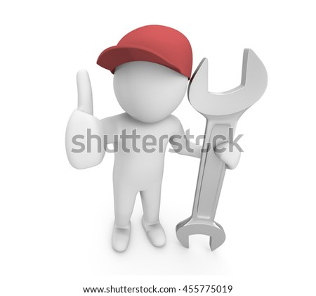Mechanic pose with big wrench ,service man , 3d rendering