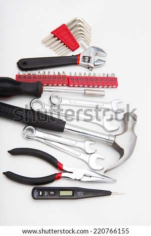 Mechanic tools set isolated on white background