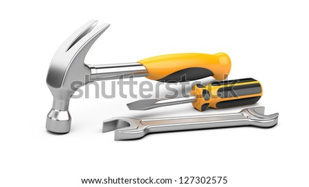 Mechanic tools set. screwdriver, wrench and hammer isolated on white background.