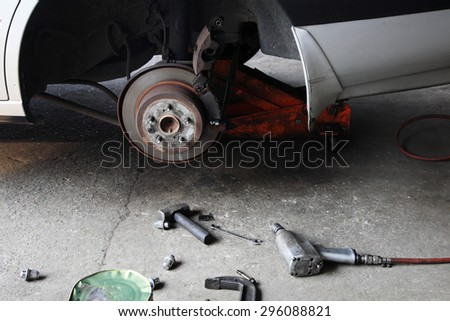 mechanic tools to fix disk brake without tire - stock photo