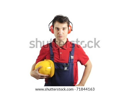 mechanic wearing his safety equipment - stock photo