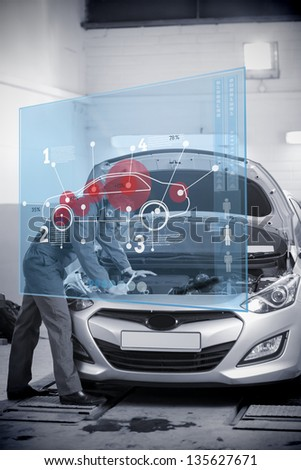 Mechanic Open Hood Futuristic Interface Car Stock Illustration ...