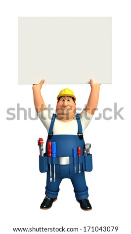 Mechanic with sign - stock photo