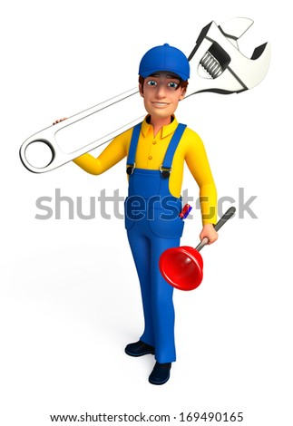 Mechanic with toilet plunger an wrench