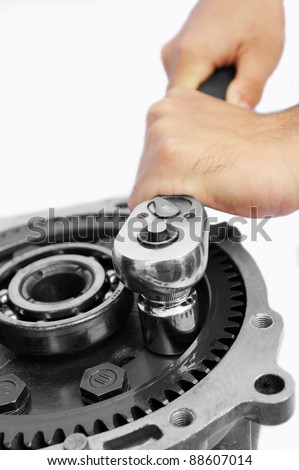mechanic work on isolated white background - stock photo