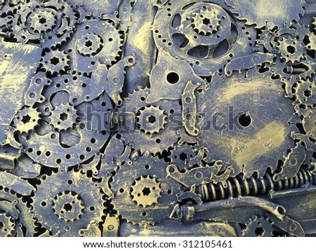 mechanical background gold color - stock photo