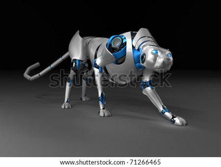 Mechanical cheetah on a black background - stock photo