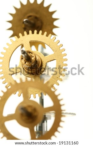 mechanical clock gear - stock photo