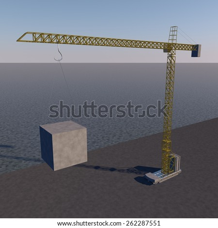 Mechanical crane on the side of the sea, 3d render - stock photo