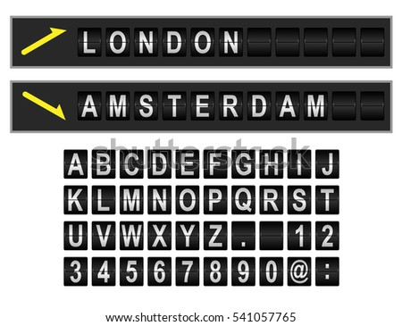 Mechanical departure and arrival board letters and numbers. Flip over display font