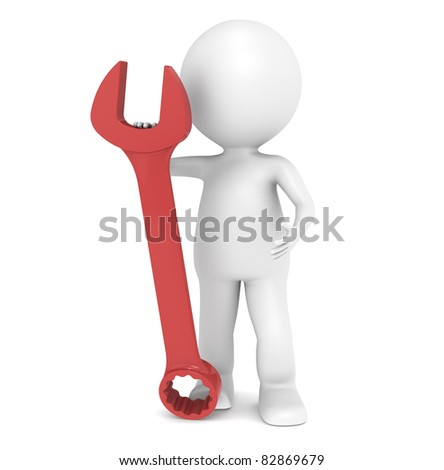Mechanical Engineer. 3D little human character with a Red Wrench
