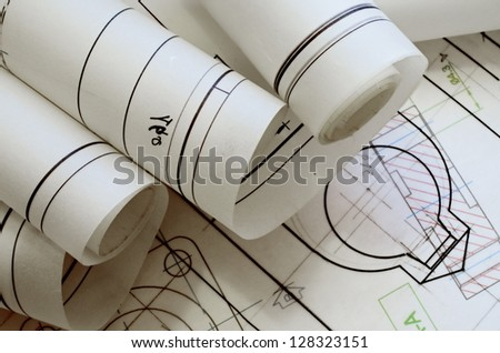 mechanical engineering design and graphics - stock photo
