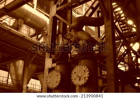 mechanical equipment in a factory, closeup of photo