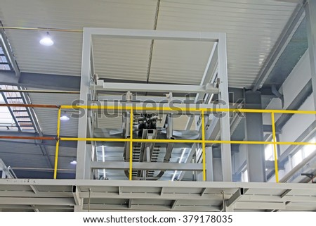 Mechanical equipment truss in the workshop, closeup of photo