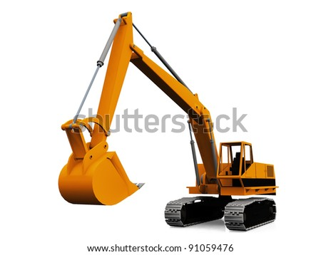 mechanical  excavator on a white background - stock photo