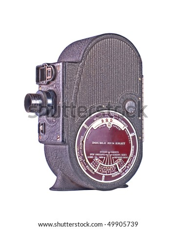 Mechanical Film Movie Camera isolated on white - stock photo