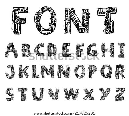 Mechanical Font Style Vector Stock Vector 205525795 - Shutterstock