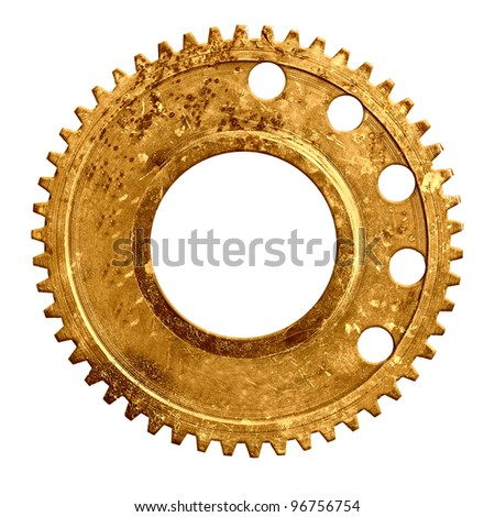 Mechanical gear isolated on white background - stock photo