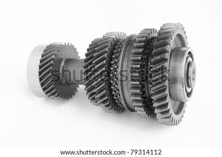 mechanical gear photo on isolated white background - stock photo