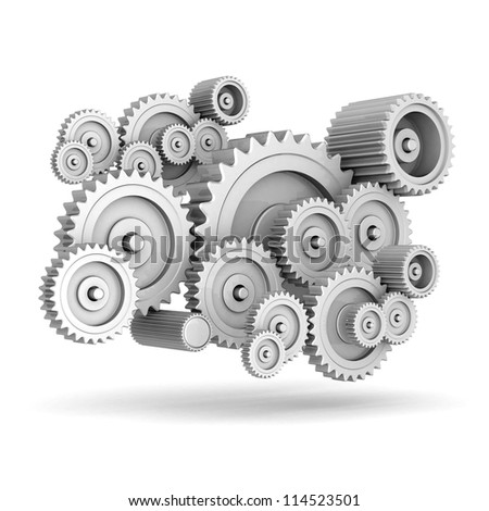 mechanical gears isolated on white background - stock photo