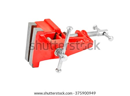 Mechanical hand vise clamp, isolated on white background