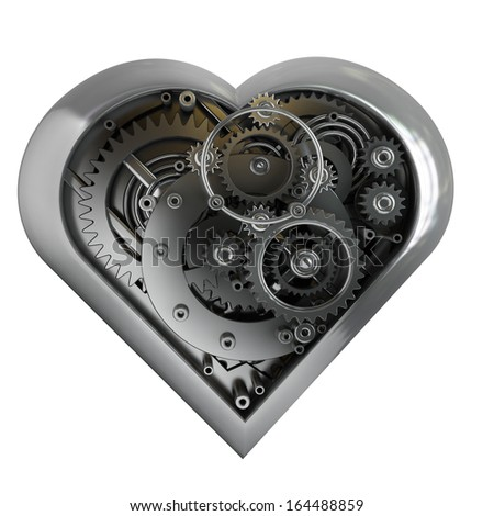 Mechanical heart isolated on white background High resolution 3d