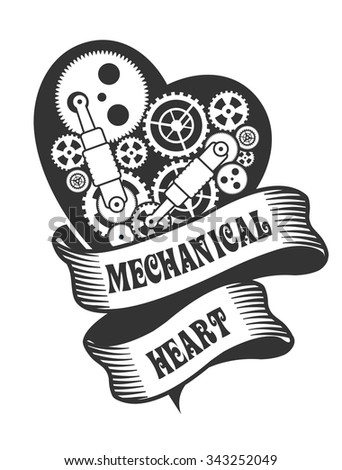 mechanical heart Steam punk with small moving parts - stock photo
