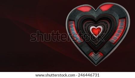 Mechanical man made metal robot heart. - stock photo