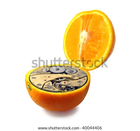 Mechanical orange isolated - stock photo