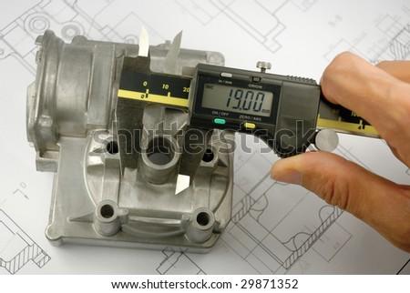 Mechanical part measureing - stock photo