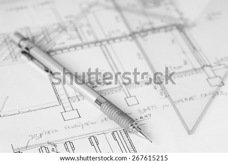 Mechanical pen on technical drawing, construction plan