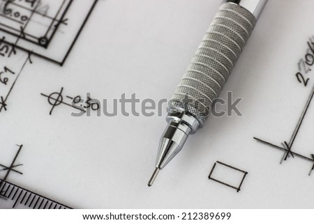 Mechanical pencil on a technical drawing