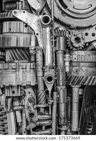 Mechanical ratchets bolts and nuts for background. - stock photo