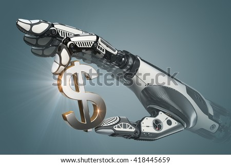 Mechanical robotic arm holding currency symbol of dollar with fingers. 3d rendered image.