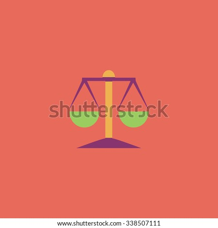 Mechanical scales. Colored simple icon. Flat retro color modern illustration symbol - stock photo