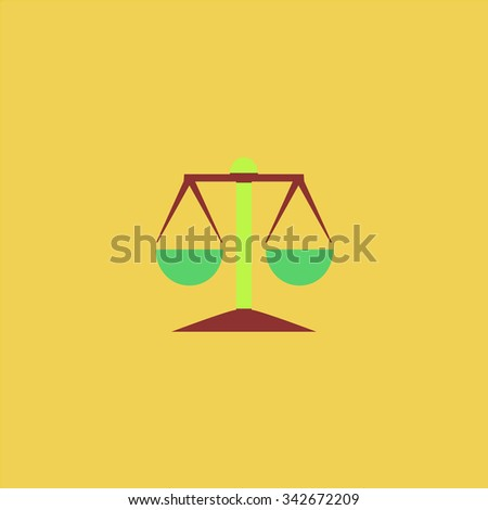 Mechanical scales. Colorful retro flat icon - stock photo