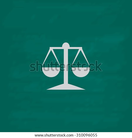Mechanical scales.  Icon. Imitation draw with white chalk on green chalkboard. Flat Pictogram and School board background. Illustration symbol - stock photo