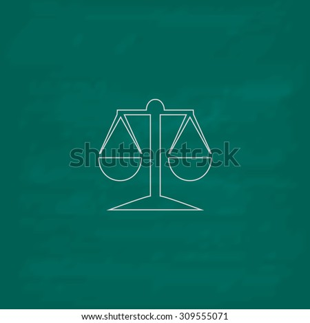 Mechanical scales. Outline icon. Imitation draw with white chalk on green chalkboard. Flat Pictogram and School board background. Illustration symbol - stock photo