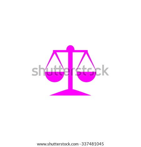 Mechanical scales. Pink icon on white background. Flat pictograph - stock photo