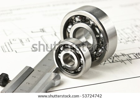mechanical scheme and calipers with bearing - stock photo