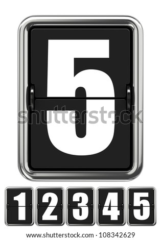 Mechanical Scoreboard Number 5 Isolated on White - stock photo