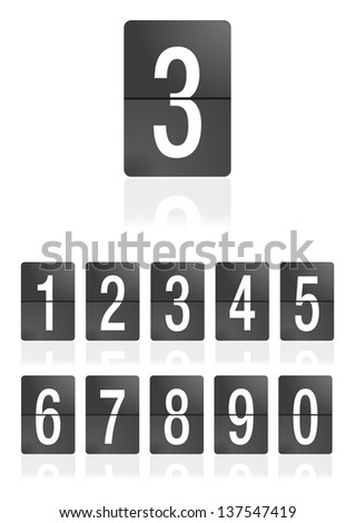 Mechanical scoreboard numbers on a white background. Number 3