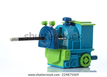 Mechanical sharpener of pencil on the white background - stock photo