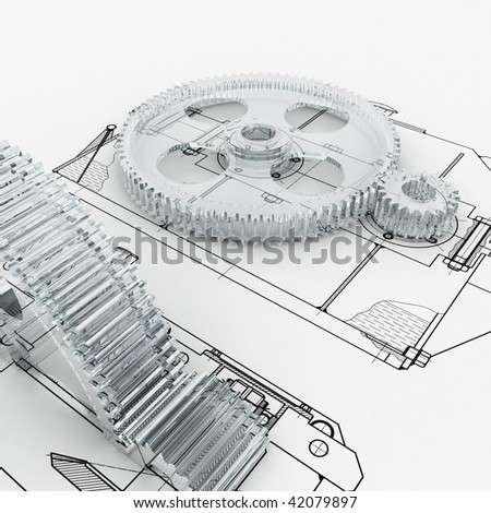 mechanical sketch with gears - stock photo