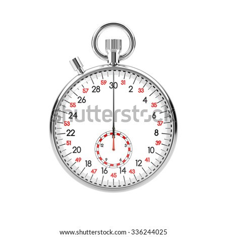 Mechanical stopwatch illustration. Retro classic style clock. Metallic chronometer with white face and black and red numbers. Isolated on white background. Time is money, deadline, accuracy concept. - stock photo