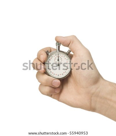 Mechanical Stopwatch in hand - stock photo