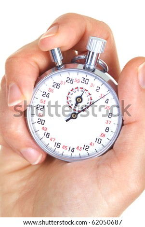 Mechanical stopwatch in the hand