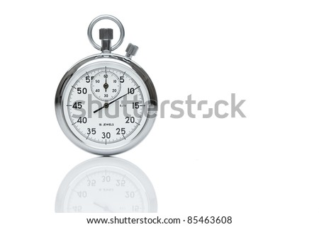 Mechanical stopwatch isolated on white, with copy space - stock photo