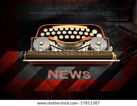 mechanical typewriter on grunge background - stock photo